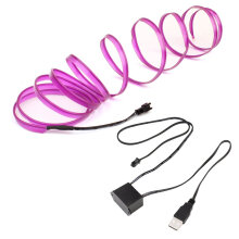 [COZIME] LED EL Light Neon Rope Car Party Dance Glowing Light Strip + 3V/12V USB Drive Purple34   4M