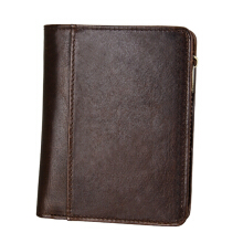 Zanzea RFID Antimagnetic Retro Genuine Leather Zipper Pocket Wallet For Men Coffee