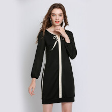 Bestielady N1398 Plus Size Long Sleeve Bow Tie Dress