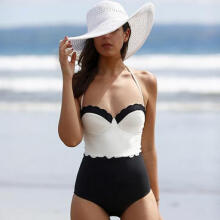 Farfi Fashion Women Sexy Backless Slim Black and White One Piece Swimwear Swimsuit