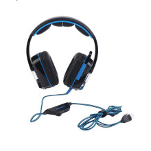 Kotion Each  Comfortable Kotion Each Stereo Gaming Headset PC With Mic Over Ear Headphones Blue Black