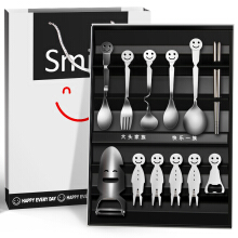 Wei Long creative gift smiling face stainless steel tableware set new strange gift birthday gift to send friends to send Gui honey business gifts 12 sets