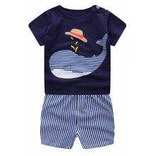 BESSKY Newborn Infant Baby Boys Girls Cartoon Whale Tops Shirt+Pants Outfits Set_