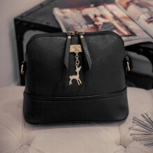[LESHP]Fashion Small Deer Pendant PU Leather Lady Crossbody Single Shoulder Bag Black
