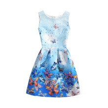 SESIBI Size 130~140 Girls Dresses Children Summer Dress Princess Costume Teens Fashion Printing Wear - Shine Butterfly -