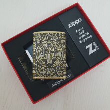 Zippo 29719 Medal & Cross of St. Benedict Antique Brass Armor finish - Gold