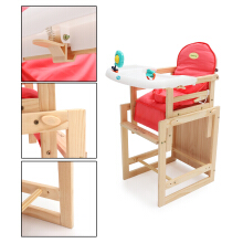 JDWonderfulhouse JDWonderfulHouse DIY Adjustable Baby Wooden Child Seating Feeding High Chair with Soft Cushion Pink