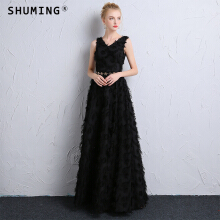 SHUMING-Black V-neck strap dress banquet evening dress Black S
