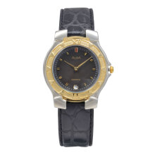 ALBA Jam Tangan Pria - Black Silver Gold - Leather Strap - AXB06H