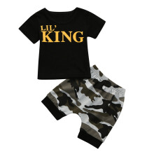 BESSKY Toddler Kids Baby Boys Letter T shirt Tops+Camouflage Shorts Outfits Clothes Set_