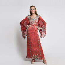 Devain Kapoor Figarro Silk Kaftan with Extra Wide Sleeves and Swarovski Crystals