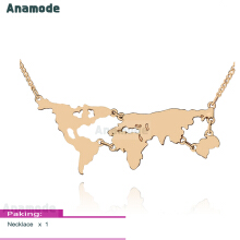 Anamode Lovers World Map Pendant Necklace Jewelry Personalized Travel Gifts -