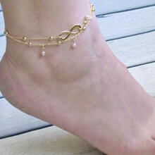 Farfi Summer Beach Sandal Barefoot Infinity Charm Bead Ankle Bracelet Anklet Jewelry