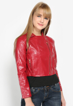 Mobile Power Ladies Cropped Synthetic Leather Zipper Jacket - Red K7102