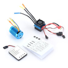 COZIME F540 3930KV Brushless Motor 45A ESC LED Programming Card for 1/10 RC Car Blue