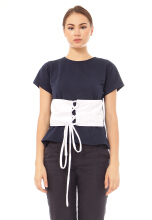 Yoenik Apparel Girdle Laluna Tops Navy M14311 R9S4