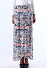 IGGY ETHNIC print wrap long skirt with side pockets