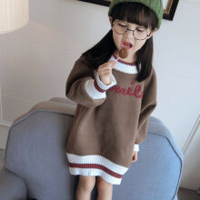 Kids Baby Girl Fashion Fleece Pullover Dress Fall Winter Hoodie Plush Dress 140CM