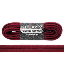 KIPZKAPZ WS41 Waxed Cotton Flat Shoelace - Maroon Red [6mm]