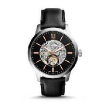 Fossil Townsman Automatic Men Skeleton Dial Black Leather Strap [ME3153] Black