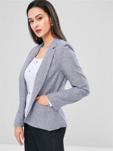WEDO Casual  GRAY M-L Striped Lapel Blazer coat Striped  striped suit For all seasons  top