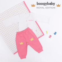 BOOGY Baby Royal Edition Her Majesty Long Top + Trousers, Swaddle, Box (3-6 Months)