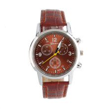[LESHP]Cool Quartz Wrist Watch With Analog Round Dial And Leather Band Brown