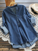 Casual Denim Pure Color Irregular Long Sleeve Blouse For Women Dark Blue One Size
