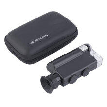 [COZIME] Pocket Microscope 200-240X Lighted Portable Magnifier LED UV Light Handheld Black1