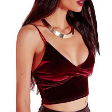 Farfi Women Sexy V-Neck Velvet Camisole Vest Adjustable Strap Top Sleeveless Clubwear