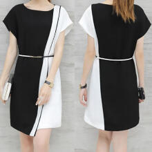 Maodapa Fashion Women Business Dress Belt O-Neck  Short Sleeve Knee Length Dress