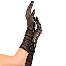 GOODTURN Sexy fun fishnet eye mesh diamond gloves Black