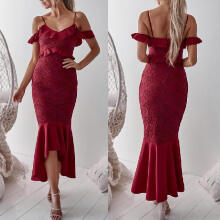 Maodapa Women  Lace Off Shoulder Ruffle Cocktail Party Pencil Knee Dress