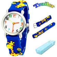 Keymao Giraffe Waterproof 3D Cute Cartoon Silicone Wristwatches Gift for Little Girls Boy Kids Children Blue
