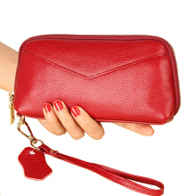 Jantens Clutch bag ladies leather long wallet party bride purse cosmetic bag mobile phone purse card package Red