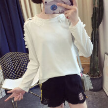 Lace round collar loose waist sleeves long sleeves medium length T-Shirt White M