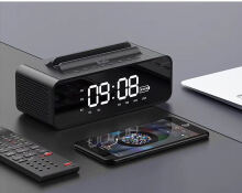 Vinmori V06 LED Light Clock Alarm Clock Bluetooth Speaker with LED Display HiFi Smart Wireless Speaker with HD Microphone Stand