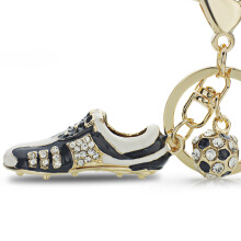 Jantens Crystal Football Soccer Shoes Rhinestone Keychains For Car Purse Bag Buckle Pendant Keyrings Black