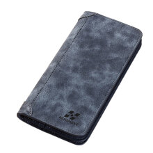 [LESHP]Vintage Long Soft PU Leather Wallet Male Purse Large Capacity Card Holders Coffee