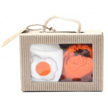 Cribcot Gift Set Booties Plain Orange & Mitten Egg Broken White
