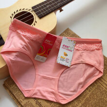 Women Solid Color Lace Women Mid-waist Underwear Knickers Female Underpants Pink