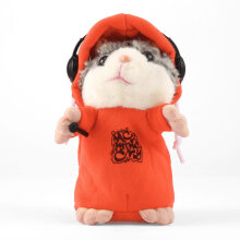 [COZIME] Cute Talking Music DJ Hamster Plush Sound Record Hamster With Mic Animal Toy Orange1