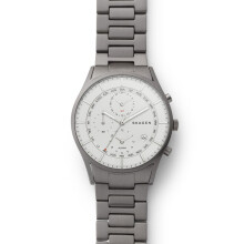 Skagen Holts - White Round Dial 40mm - Stainless Steel - Silver - Chronograph - Jam Tangan Pria - SKW6286
