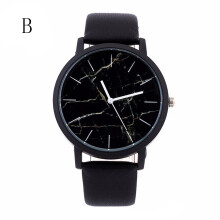 PEKY Marble Style Leather Quartz Watches Women Mens Watch Luxury Stainless Steel Military Sport Dial Wrist Watch Black