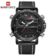 NAVIFORCE 9134 Mens Watches To Luxury Brand Men Leather Sports Watches  Men's Quartz LED Digital Clock Waterproof Military Wrist White