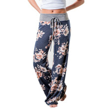 Jantens Women Loose Floral Print 2018 Wide Leg Pants Loose Mid Waist Straight Trousers