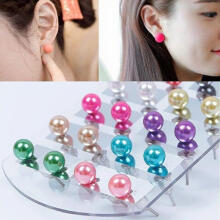 Farfi Women's 12 Pair Ear Stud Faux Pearl Round Ball Earrings Set Eardrop Multi-color