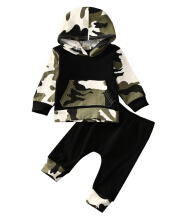 Baby cotton camouflage jacket, long trousers, baby two-piece set.