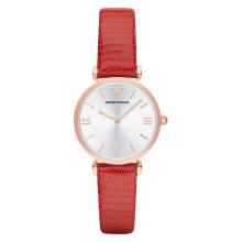 Emporio Armani Classic AR1876 Silver Dial Red Leather Strap [AR1876]