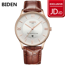 jam tangan BIDEN pria fashion newah bisnis leather band waterproof jam tangan Brown